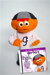 Gerbert pupplet with orange skin and green hair.