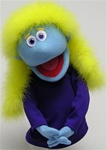 "16"" tall with yellow boa hair and blue skin.  Luxi is a professional hand puppet."