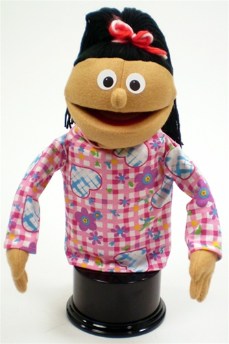 Girl Puppet With Honey Skin And Black Ponytail A Little