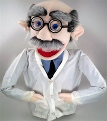 "18"" scientist puppet with thick glasses, big nose and receding hair with salt and pepper mustache."