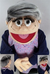 Ms. Moody is a woman puppet with salt and puppet hair and glasses.