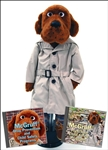 "26"" Tall McGruff puppet with trench coat and plaid pants"