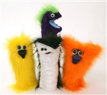Colorful, furry hand puppets for kids.