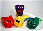 Colorful, furry hand puppets for clowns and kids.