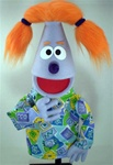 Lavender Girl Puppet with Orange Pigtails