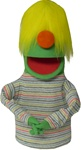 Green Puppet with Yellow Hair and No Eyes