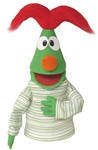 Green Puppet with Red Jester Hair