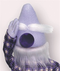 Old man puppet with no eyes, purple nose and white eyebrows