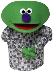 Dome is a green hand puppet with no hair.