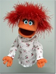 Cute Orange Girl Puppet with Feather Boa Hair