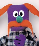 Purple Hand Puppet with Red Mustache