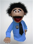 "16"" Tall officer puppet with mustache and blue shirt and black tie."
