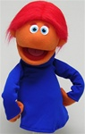 "Professional puppet measures 16"" tall and has orange skin and red hair."