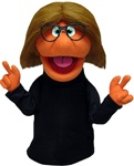 "This professional puppet measures 16"" tall and has orange skin and brown hair and black rimmed glasses."