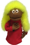 Luxi is a hand puppet with yellow boa hair and brown skin.