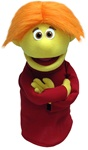 "This professional hand puppet is 16"" tall and has yellow skin and orange hair."
