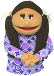 "This 16"" honey skin girl puppet has brown pigtails."
