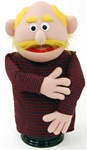 "16"" peach skinned dad puppet with yellow mustache and receding yellow hair."