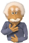 Honey skin colored puppet designed to look like Albert Einstein.
