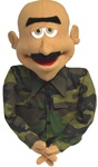 Major Buzz is a professional puppet with honey colored skin and camouflage clothing.