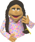 Maggie is a honey skinned 20 inch tall professional puppet with brown braids.
