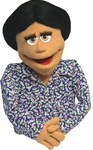 "Donna is a professional puppet with honey colored skin and measures 20"" tall."