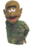 Major Buzz is a Cocoa skinned military puppet sold with camouflage shirt and bald head with dark eyebrows.