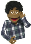 AJ is a cocoa skinned professional puppet with black curly hair.