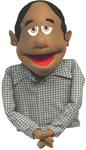 Cocoa skinned puppet with black receding hair.
