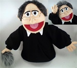 Rev. Wiggins is a minister puppet with robes and a removable wig.
