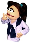 Josie is a female puppet with brown hair and a large pony tail.