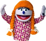 Priscilla is a girl puppet with lavender skin and orange braided pigtails.