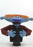 "Elmer is a wide blue puppet who stands 20"" tall."