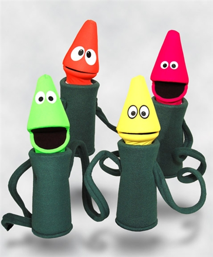 set of all four black light crayon puppets dressed up as christmas